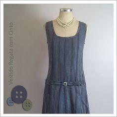 Vestido Regata com Cinto (Listrado) - Café Costura de R$110 por R$100
