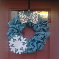 Let It Snow Ice Blue Snowflake Door Wreath...beside blue being my fav color...love this instead of the traditional holiday colors!
