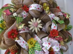 Wreath for Front door , Summer Deco Mesh, Flowers and Ribbon ...
