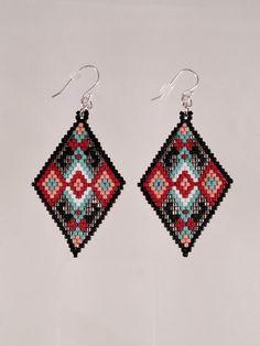 Semence losange perles Boucles d'oreilles Tribal par Calisi sur Etsy