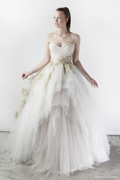 leah da gloria bridal spring 2015 blair strapless ball gown wedding dress embellished gold accents