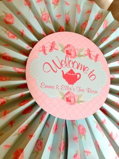 Printable Shabby Chic Tea Party Welcome Sign