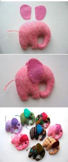 handcrafted toy a shape of a baby elephant Animal Sewing Patterns, Felt Patterns, Stuffed Animal Patterns, Felt Crafts, Crafts To Make, Diy Crafts, Sewing Toys, Sewing Crafts, Baby Girl Elephant
