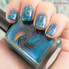 Indigo Bananas Telephasic Workshop  Stamped with MoYou London pro plate 11 with Bundle Monster #26 stamping polish