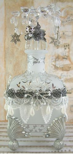 "Frosted Snowflake Altered Bottle - To see more of my art, download free images, and learn new techniques checkout my Blog ""Artfully Musing"" at http://artfullymusing.blogspot.com"