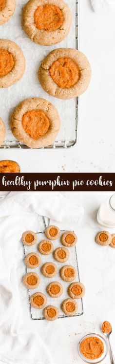 Healthy Pumpkin Pie Thumbprint Cookies -- only 41 calories! They're easy to make & perfect for Thanksgiving desserts or fall parties! My friends called these the BEST thumbprint cookies they've ever had! And I totally agree! ♡ clean eating soft chewy pumpkin thumbprint cookies. easy pumpkin thumbprint cookies with weight watchers points. homemade low calorie pumpkin cookies recipe from scratch. Healthy Cake, Healthy Cupcakes, Healthy Cookies, Healthy Dessert Recipes, Healthy Baking, Baking Recipes, Healthy Sweets, Pumpkin Cookie Recipe, Pumpkin Cookies