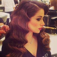 Love this look by @hairdresserqatar  #hair #makeup #mua #curls #swirls #brunette #bride #couture #fashion #love #redlips #red #wedding #weddingdress #fashion #dress #hair