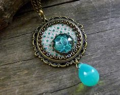 Moon necklace Crescent moon cross stitch necklace от TriccotraShop