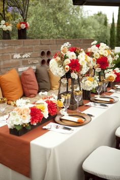 #rehearsal dinner The red dahlias are simply gorgeous.