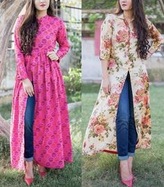Jeans with kurta is one of the favourite fusion wear amongst many Indian girls and women. A kurta is extremely comfortable piece of clothing that looks Simple Kurti Designs, New Kurti Designs, Kurta Designs Women, Kurti Designs Party Wear, Stylish Kurtis Design, Stylish Dress Designs, Fancy Dress Design, Girls Frock Design, Frock For Women
