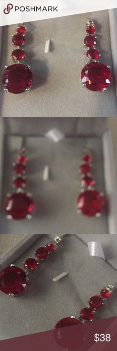 "New blood stone ruby quartz earrings Beautiful dangle earrings blood stone quartz ruby earrings approximately half inch wide to 1""3/4 long stylish elegant classy prong setting silver stamped posts 925 face width 58/12mm gemstone size 11/9mm 7/5mm beautifully handcrafted Nwot Jewelry Earrings"