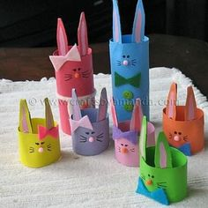 Cardboard tube Easter bunnies or they could be made into bunny hats