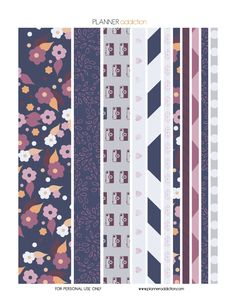 Purple Blue Floral Washi Tape Description: The sheet of this printable washi tape planner stickers size is x inches 1 ZIP file containing 1 JPG file, 1 PDF file & 1 Silhouette cut file. Journal Stickers, Printable Planner Stickers, Printable Paper, Free Printable, Washi Tape Planner, Kikki K, Planner Pages, Cute Stickers, Happy Planner