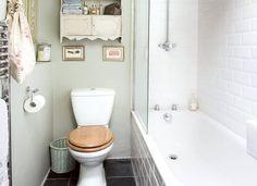 Grey Country Bathroom with Metro Tile Bath