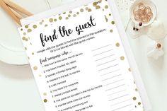 Find The Guest Scavenger Hunt Bridal Shower Game, Wedding Shower Games, Downloadable Bridal Shower Games, Printable Bridal, DIY Game, dot-3