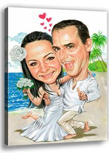 Hochzeitspaar als Karikatur vom Foto am tropischen Strand auf Hochzeitsreise mit einem südländischen Hochzeitsbaum