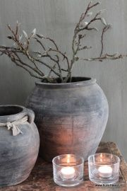 Grijze kruik M Lantern Candle Holders, Candle Lanterns, Barn Art, Art Van, Rustic Interiors, Wabi Sabi, Beautiful Interiors, Shabby Chic Decor, Home Living Room