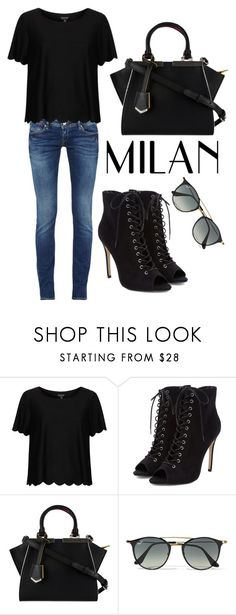 """Untitled #94"" by filippaelvira ❤ liked on Polyvore featuring Topshop, Fendi and Ray-Ban"
