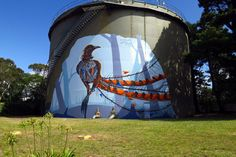 Lyrebird mural on a water tank, Great Western Highway, Wentworth Falls, Australia by Janne Birkner (Krimsone) and Scott Nagy, commissioned by Sydney Water and the Blue Mountains Council (2016)