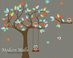 Children Wall Decals For Nursery-Tree with Branch,Swing,Monkeys Owls Birds Tree Decals, Kids Wall Decals, Nursery Wall Decals, Wall Stickers, Wall Vinyl, Owl Bedroom Decor, Owl Bedrooms, Mural Wall Art, Owl Bird