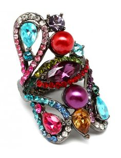 RAINBOW GEM & BEAD CLUSTER LADIES FASHION ADJUSTABLE RING - View All Rings - Rings - Jewellery
