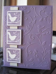 handmade card … monochromatic violet … embossing folder texture for background … three inches on a ribbon with same bird image … like it! Bird Cards, Butterfly Cards, Paper Butterflies, Making Greeting Cards, Greeting Cards Handmade, Pretty Cards, Cute Cards, Embossed Cards, Sympathy Cards