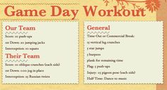 healthywork:    In honor of college football finally starting…I made a football game workout plan.