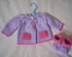 Hand Knitted Baby Yoked Matinee Coat Jacket and Shoe Set baby gift Baby Knitting, Knitted Baby, Doll Making Tutorials, Baby Coat, Baby Cardigan, Knitted Dolls, Baby Boutique, Cute Dolls, New Baby Products