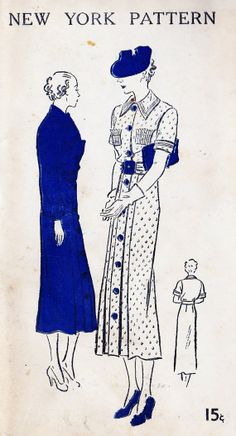 "1930s Misses Dress Vintage Sewing Pattern, New York 621 bust 36"" uncut"