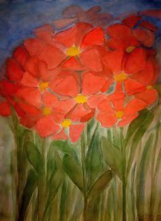 Fantazijné kvety akvarel