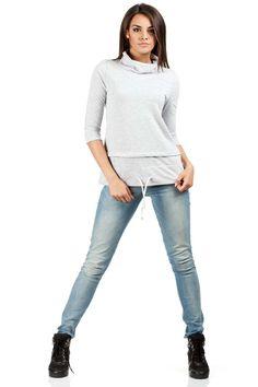 Gładka bluza damska z odcieniami szarego z przeszyciami Grey, Pants, Fashion, Gray, Trouser Pants, Moda, Fashion Styles, Women's Pants, Women Pants
