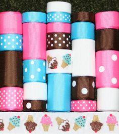 Ice Cream Grosgrain Ribbon Lot 24YDS by FaithRibbonsDotCom on Etsy