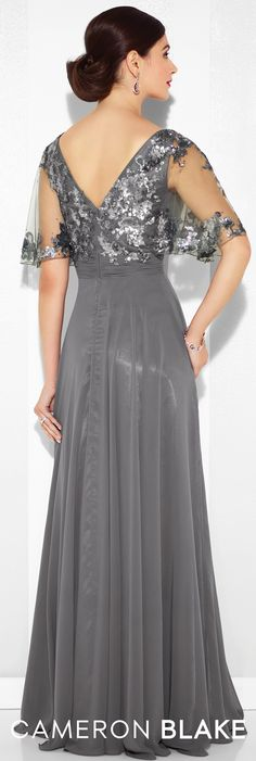 Formal Evening Gowns by Mon Cheri - Spring 2017 - Style No. 117622 - smoke gray chiffon evening dress with sequin lace bodice and illusion flutter sleeves