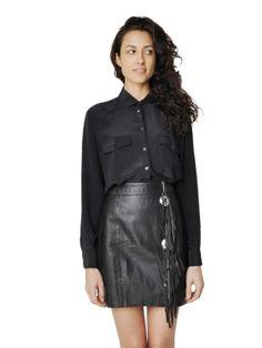 Refinery29 Shops: Maeven Vintage Black Fringed Leather Skirt - Maeven - Boutiques