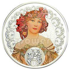 VIRGO Horoscope Zodiac Mucha Silver Coin 1$ Niue Island 2011