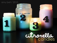 Do it Yourself Citronella candles! Gotta make plenty of these before the summer months so we can enjoy the front porch after dark.