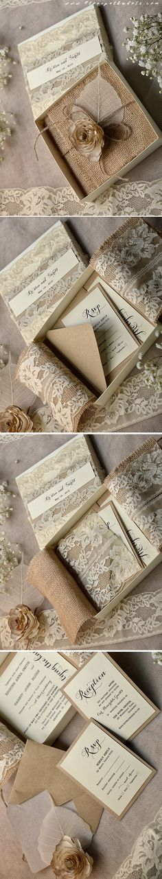 Wedding Invitation in a box ! Burlap, Lace & Flower #vintagewedding #lace #weddingideas