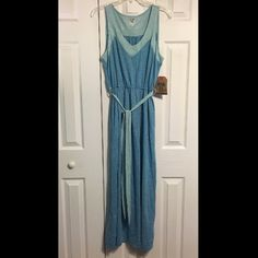Route 66 Blue/Gray Striped Maxi Dress NWT Route 66 maxi dress. Blue and grey stripes with lighter blue and grey striped accents. Route 66 Dresses Maxi