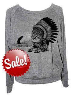 Cat sweatshirt  Cat Indian womens raglan American por skipnwhistle, $20.00