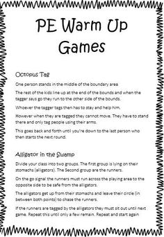 PE Warmup Games --- 9 Different Games to warm up your kids before sport…