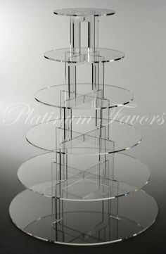 6 TIER ROUND ACRYLIC CUPCAKE STAND CLEAR WEDDING CAKE STAND