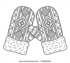 coloring page for adults hand drawn warm knitted mittens vector element - Mitten Coloring Page