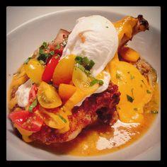 Grilled Berkshire Porkchop with Summer Vegetable Gratin, Hollandaise and Poached Egg