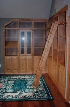 Cherry Home Library With Rolling Ladder Made By Breznick Woodworking Of  Londonderry, Vermont