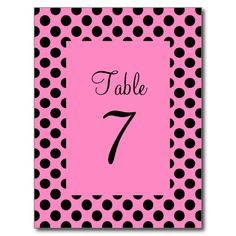 Pink and Black Polka Dot Table Number Postcard