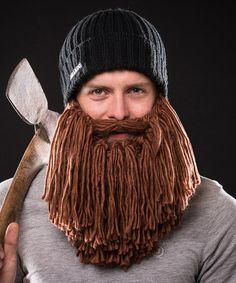 Ha!  Brown Beard & Black Beanie - Adult by Beardo #zulily #zulilyfinds $28.99