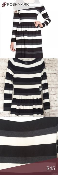 """Vince Camuto Sweater Striped Long Sleeve Small Vince Camuto Sweater Striped Long Sleeve Small   Striped Black Cream White Gray Sweater Dress. Drop waist style. New with tags. Approximate measurements: 36"""" long, bust 15"""" (laying flat) Vince Camuto Dresses Midi"""