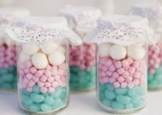 lollys, candy.....perfect for baby/bridal shower favours, and the doily lid cover so cute so simple.