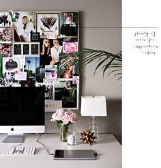 'plenty of room for inspiration + ideas ' -- office space creative image board collage _ glitterinc.com