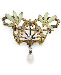 An Art Nouveau enamel, pearl and diamond brooch, circa 1900. Of scrolling foliate openwork design, centrally-set with an old brilliant-cut diamond, enclosed by rose enamel flowerheads, each with a rose-cut diamond, suspending a 5.1mm-6.4mm pearl, Russian import mark.